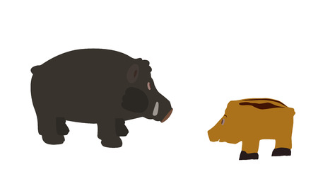 bleating: Pig Isolated on White Background  Vector Illustration    Illustration
