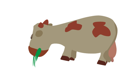 bleating: Cow Eats the Grass  Vector Illustration