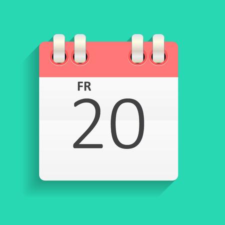 calendar: Mieszkanie Kalendarz Ikona ilustracji wektorowych