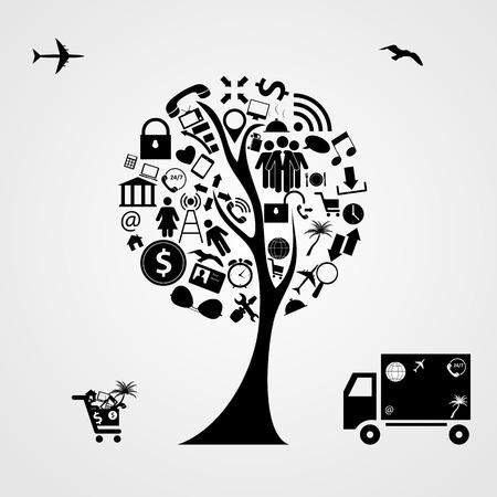 Tree of Social Media Concept Vector Illustration   Illustration