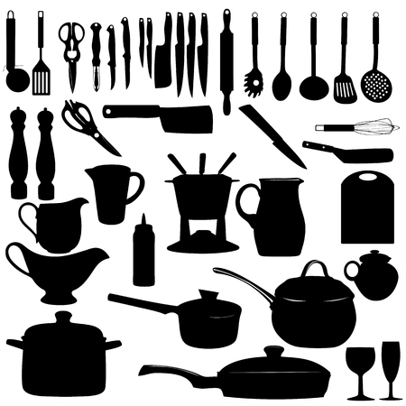 milkman: Kitchen tools Silhouette Vector illustration Illustration