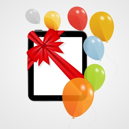 Digital Tablet Gift Vector Illustration with Balloons  Vector