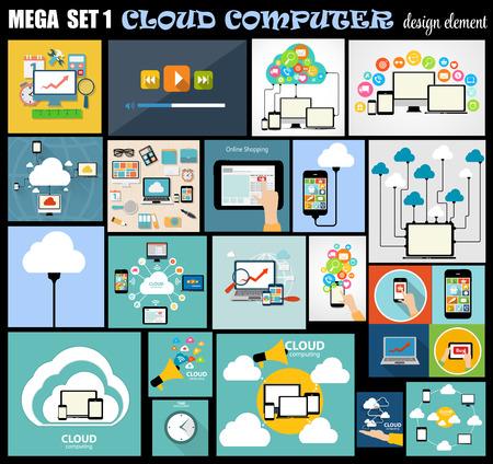 datos personales: Ilustraci�n Mega Set Plana Computadora Dise�o vectorial Vectores