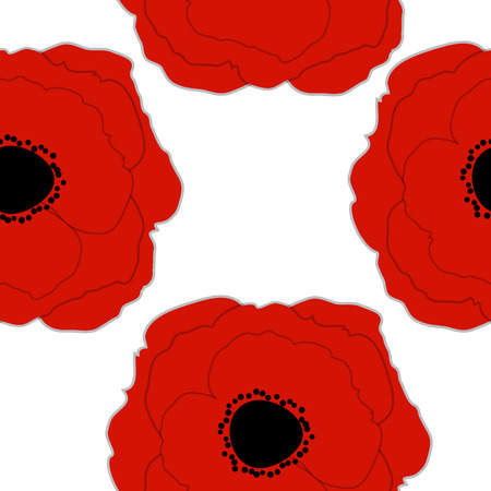 illustrati: Red Poppies Flower Seamless Pattern Background Vector Illustrati