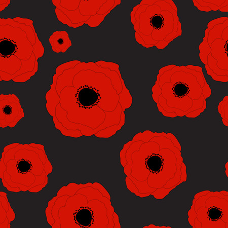 Red Poppies Flower Seamless Pattern Background Vector Illustrati