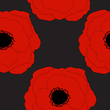 Red Poppies Flower Seamless Pattern Background Vector Illustrati Vector