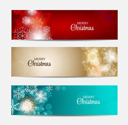 Christmas Snowflakes Website Header and Banner Set Background Ve Vector