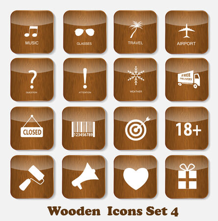 Wooden Application Icons Set Vector Illustration Vector