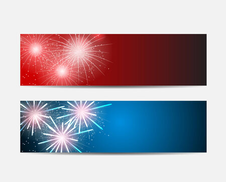 Glossy Fireworks Website Header and Banner Set Background Vector Vector