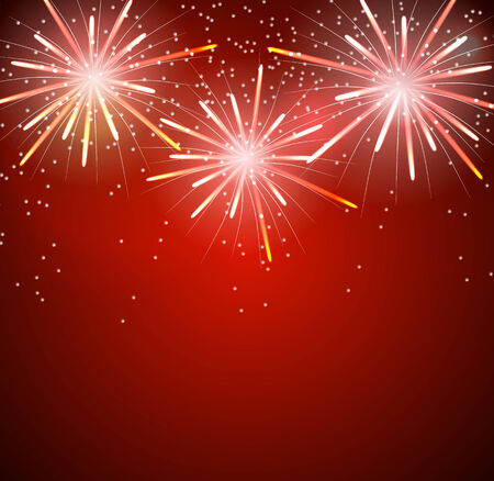 fawkes: Glossy Fireworks Background Vector Illustration.