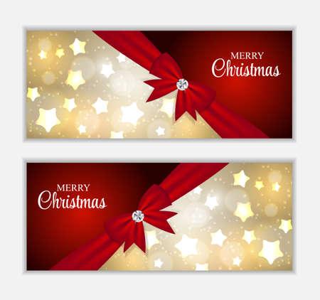 banner website: Kerst Website Banner en kaart achtergrond Illustratie