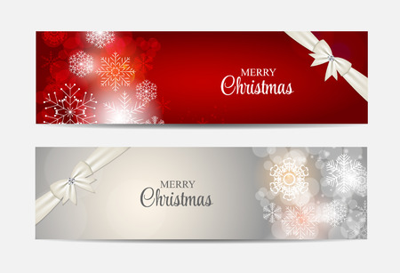 banner effect: Christmas Snowflakes Website Header and Banner Set Background Ve
