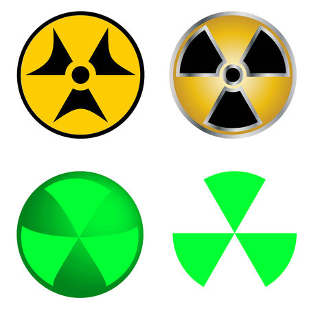radioisotope: Isolated Symbols of Radiation Vector Illustration.