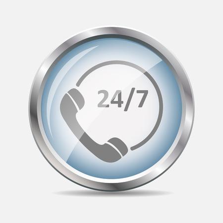 Customer service 24-7 Glossy Icon Vector Illustration
