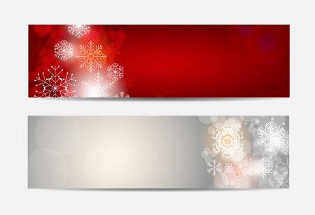 banner website: Kerst Sneeuwvlokken Website banner en kaart achtergrond vector illustratie EPS10