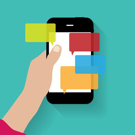 message: Text Messaging Flat  Concept Vector Illustration Illustration