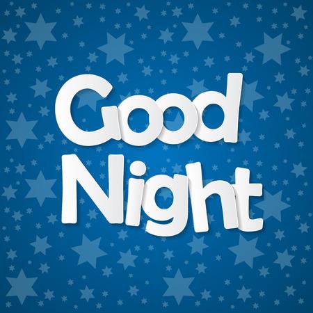 Starry Sky. Good Night Concept Vector Illustration. EPS10