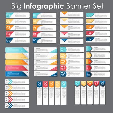Gran Conjunto de plantillas de banner de Infografía para su vector de negocios Foto de archivo - 36484338
