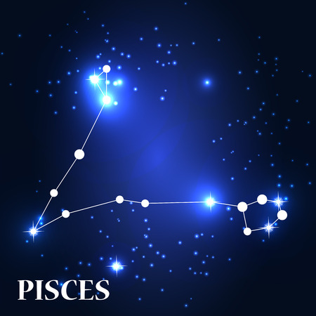 traits: Symbol: Pisces Zodiac Sign. Vector Illustration.