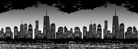 Seamless Pattern Vector Illustration of Cities Silhouette. Vector