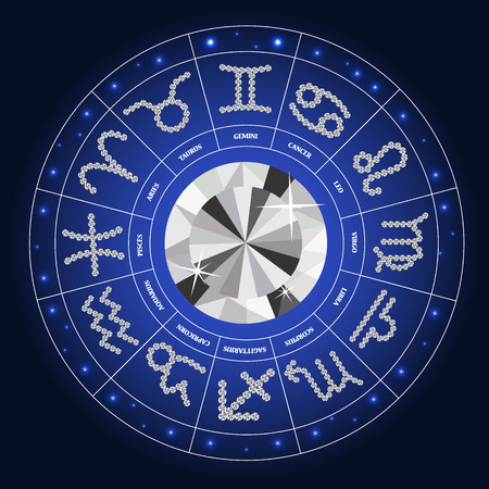 Set of Symbol Zodiac Sign Diamond. Vector Illustration.