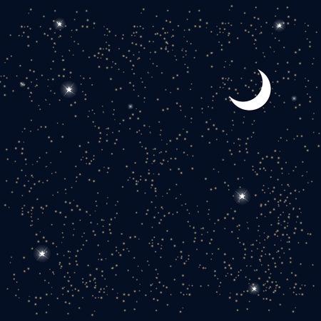 Ruimte. Sterrenhemel met de Maan. Vector Illustratie.
