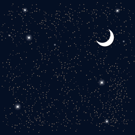 Space. Starry Sky with the Moon. Vector Illustration. Иллюстрация