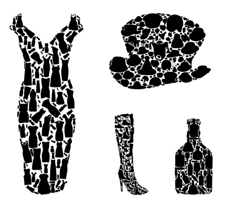 neckscarf: Bottles and Clothing: Hats, Shoes Collection Silhouette. Vector