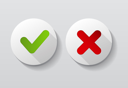 green check mark: Red and Green Check Mark Icons Button Vector Illustration