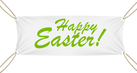 merchandising: Textile Banner with Happy Easter Text. Vector Illustration