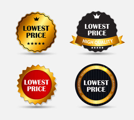 lowest: Lowest Price Label Set Illustration