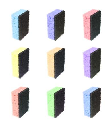 Réglez coloré éponge pour laver la vaisselle isolé sur fond blanc Banque d'images - 36812435