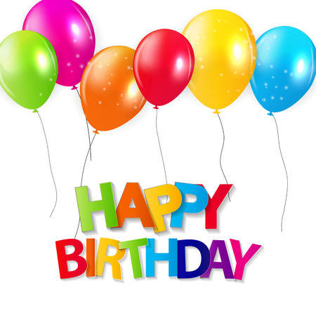 happy birthday balloons: Glossy Balloons Background Vector Illustration Illustration