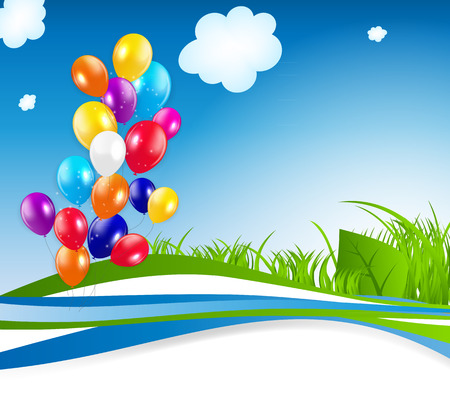 colored balloons: Colored Balloons Background, Vector Illustration.