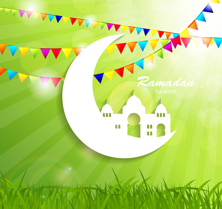 namaz: Background for Muslim Community Festival Vector Illustration Illustration