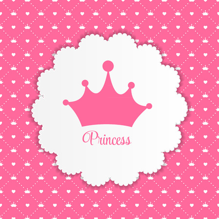 crowns: Princess  Background with Crown Vector Illustration Illustration
