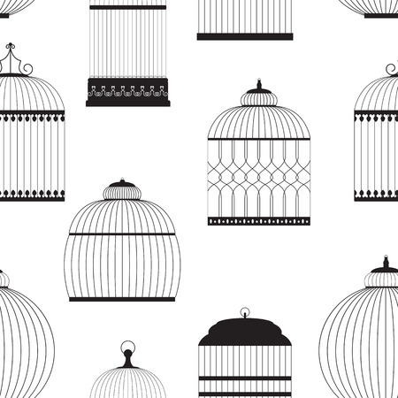 aviary: Vintage Birdcages Silhouettes Seamless Pattern Vector Illustration Illustration