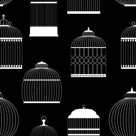 aviary: Vintage Birdcages Silhouettes Seamless Pattern Vector Illustration Illustration