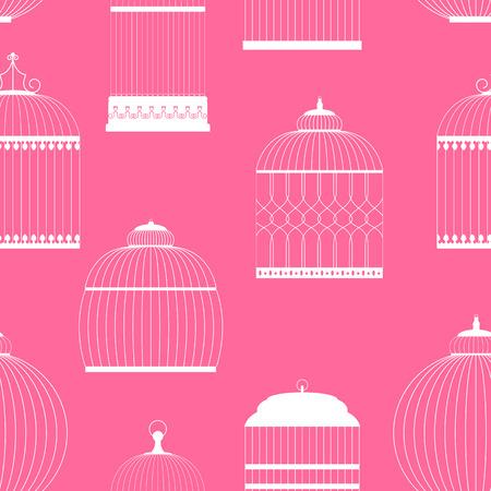 bondage: Vintage Birdcages Silhouettes Seamless Pattern Vector Illustration Illustration