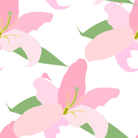 stamen: Lilly Flower Seamless Pattern Vector Illustration Illustration