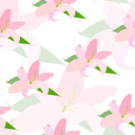 Lilly Flower Seamless Pattern Vector Illustration Illustration
