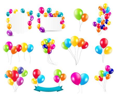 Kleur Glossy Ballonnen Mega Set Vector Illustration