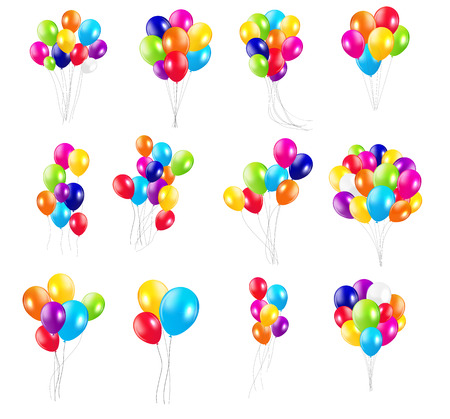 Color Glossy Balloons  Mega Set Vector Illustration Çizim