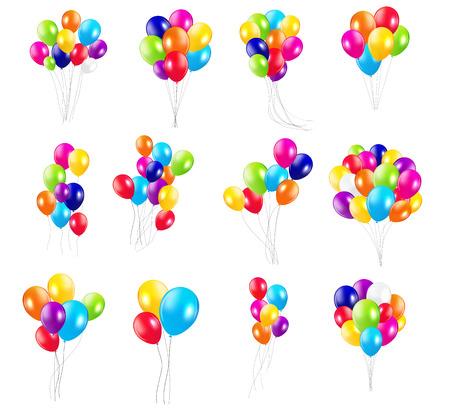 globos de cumplea�os: Globos de colores brillantes Mega Illustration Set Vector