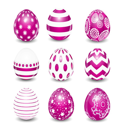 pasqua: Beautiful Easter Egg Set Vector Illustration