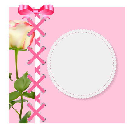 folwer: Vintage Frame with Bow, Ribbon and Rose Folwer  Background. Vect Illustration