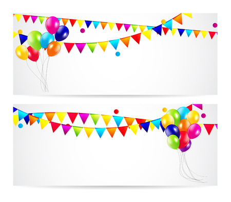 Colored Balloons Card Banner Background, Vector Illustration Illustration