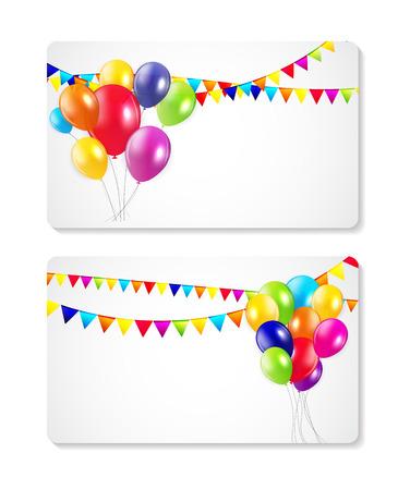 birthday frame: Colored Balloons Card Banner Background, Vector Illustration Illustration