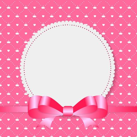 lazo rosa: Marco de la vendimia con el fondo del arco. Ilustración vectorial