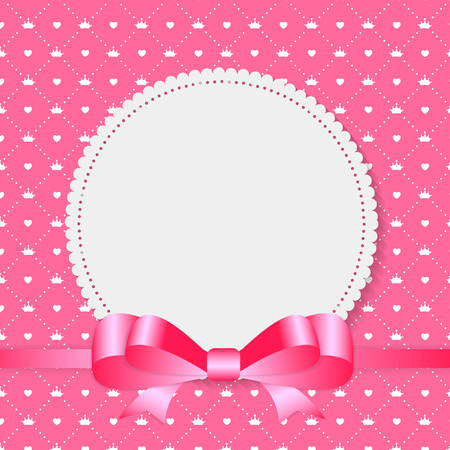 pink satin: Vintage Frame with Bow  Background. Vector Illustration Illustration